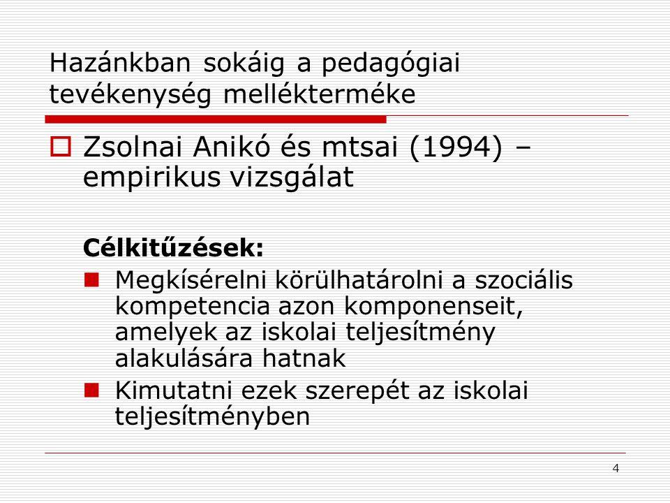 4 Hazánkban sokáig a pedagógiai tevékenység mellékterméke  Zsolnai Anikó és mtsai (1994) – empirikus vizsgálat Célkitűzések: Megkísérelni körülhatáro