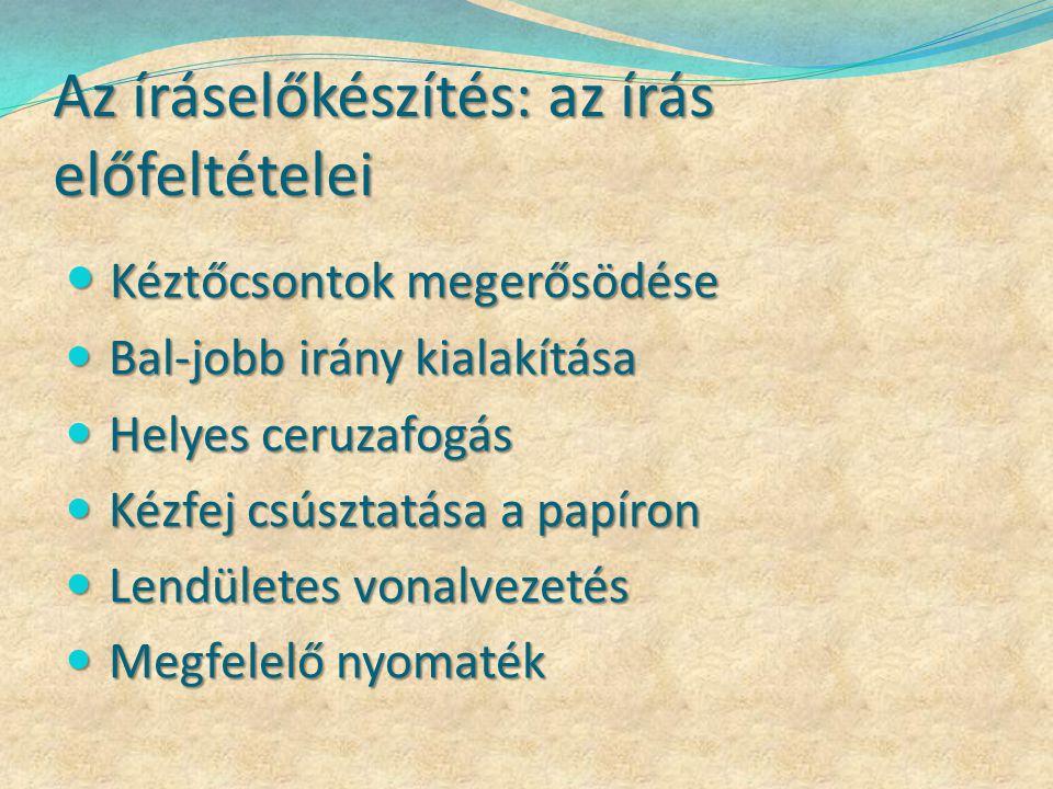 Feltételek megteremtése Nagymozgásoktól a kismozgásokig Nagymozgásoktól a kismozgásokig Dalok, mondókák Dalok, mondókák Finommotorikai fejlesztő gyakorlatok magyar órán és a készségfejlesztő órákon Finommotorikai fejlesztő gyakorlatok magyar órán és a készségfejlesztő órákon Gyurmázás (betűelemek kialakítása is) Gyurmázás (betűelemek kialakítása is) Csipeszelés Csipeszelés Betűelemek vázolása lisztbe, fürdető krémbe Betűelemek vázolása lisztbe, fürdető krémbe Betűelem ragasztása fonálból – a betűkötés is Betűelem ragasztása fonálból – a betűkötés is Apró magvak, termések ragasztása (betűelemek is) Apró magvak, termések ragasztása (betűelemek is)