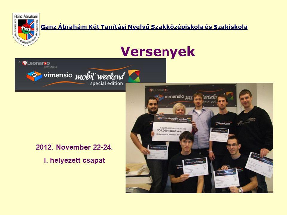 Ganz Ábrahám Két Tanítási Nyelvű Szakközépiskola és Szakiskola Verse n yek 2012. November 22-24. I. helyezett csapat