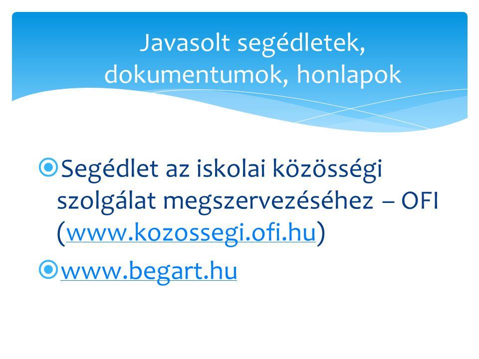  Segédlet az iskolai közösségi szolgálat megszervezéséhez – OFI (www.kozossegi.ofi.hu)www.kozossegi.ofi.hu  www.begart.hu www.begart.hu Javasolt seg