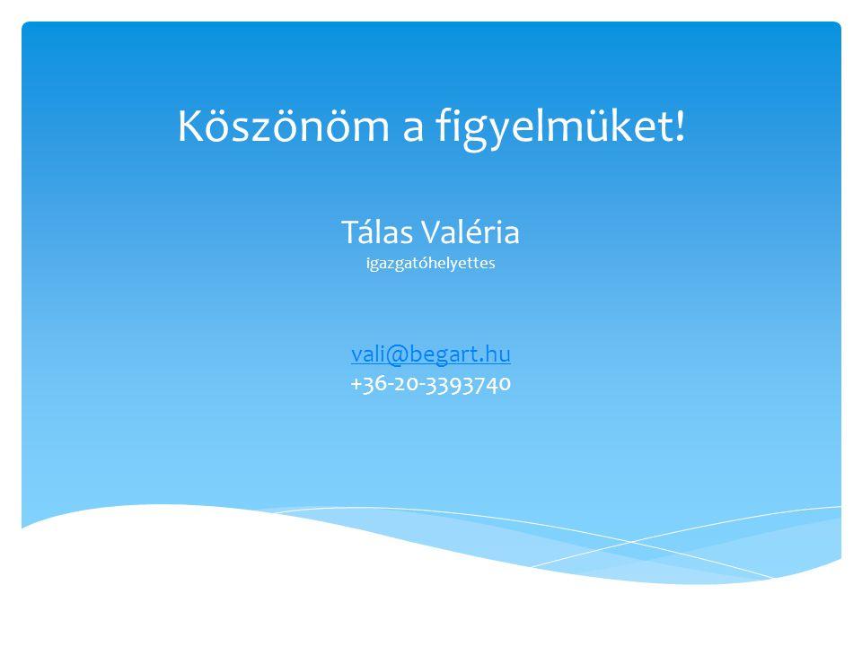Köszönöm a figyelmüket! Tálas Valéria igazgatóhelyettes vali@begart.hu vali@begart.hu +36-20-3393740