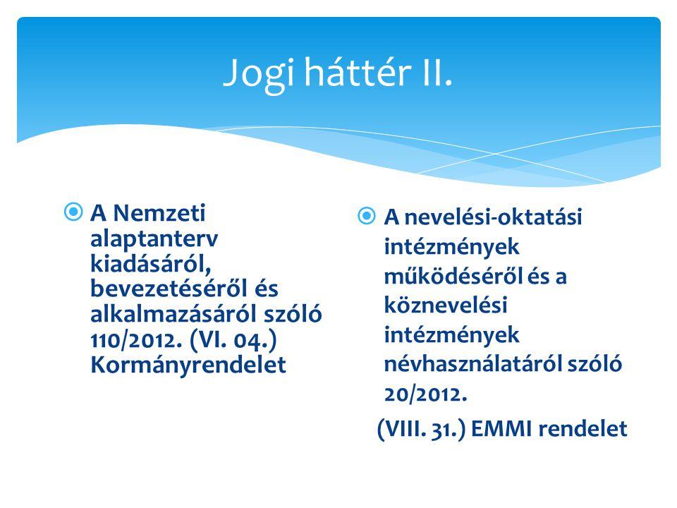 Jogi háttér II.  A Nemzeti alaptanterv kiadásáról, bevezetéséről és alkalmazásáról szóló 110/2012. (VI. 04.) Kormányrendelet  A nevelési-oktatási in