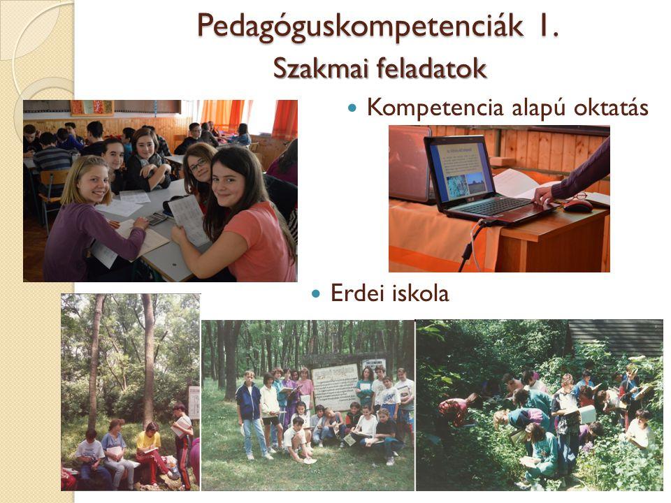 Pedagóguskompetenciák 1. Szakmai feladatok Kompetencia alapú oktatás Erdei iskola