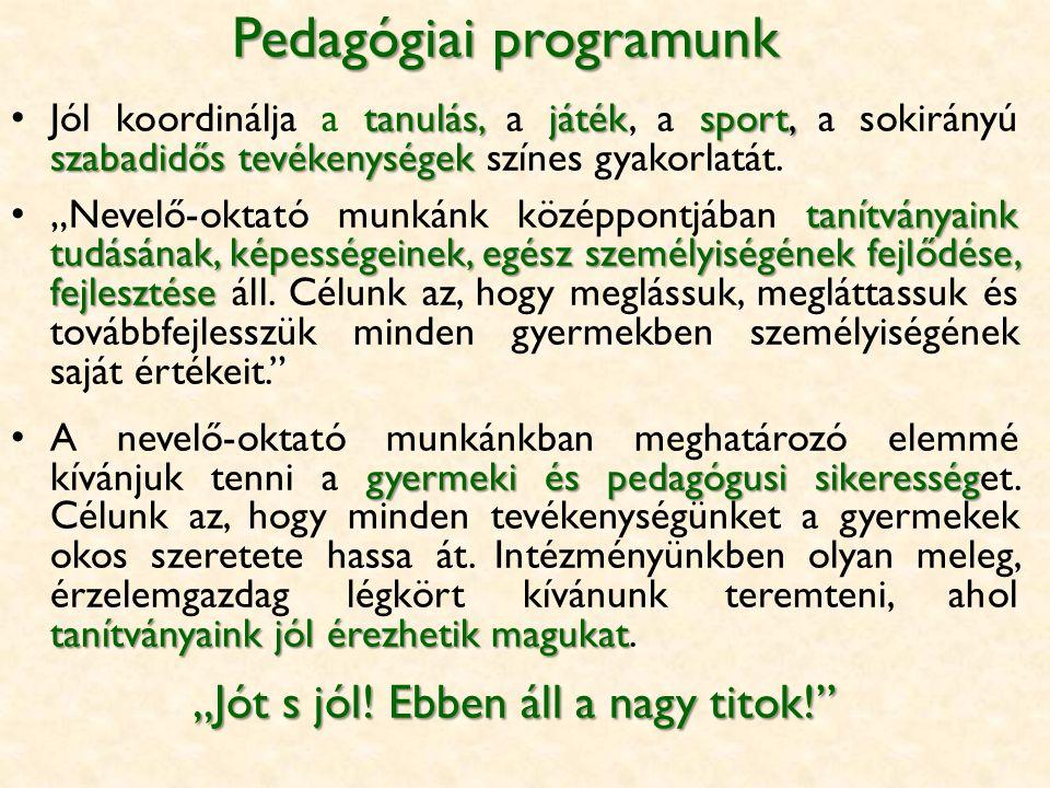Pedagógiai programunk tanulás,játéksport, szabadidős tevékenységek Jól koordinálja a tanulás, a játék, a sport, a sokirányú szabadidős tevékenységek színes gyakorlatát.