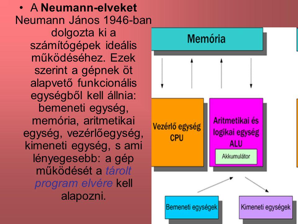 A Neumann-elveket Neumann János 1946-ban dolgozta ki a számítógépek ideális működéséhez. Ezek szerint a gépnek öt alapvető funkcionális egységből kell