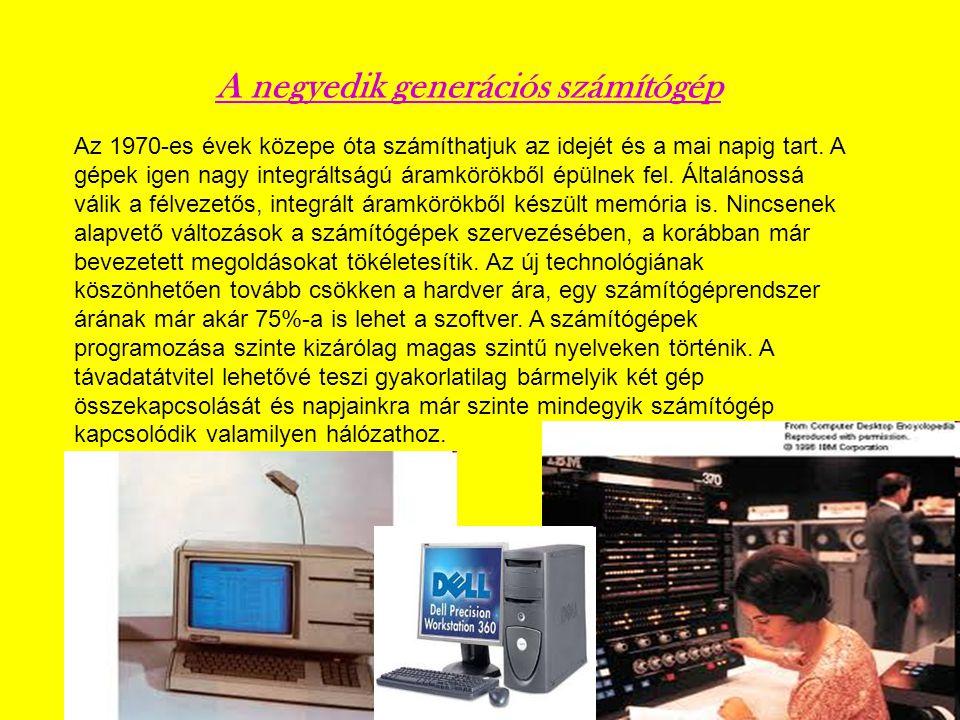 Az 1970-es évek közepe óta számíthatjuk az idejét és a mai napig tart. A gépek igen nagy integráltságú áramkörökből épülnek fel. Általánossá válik a f