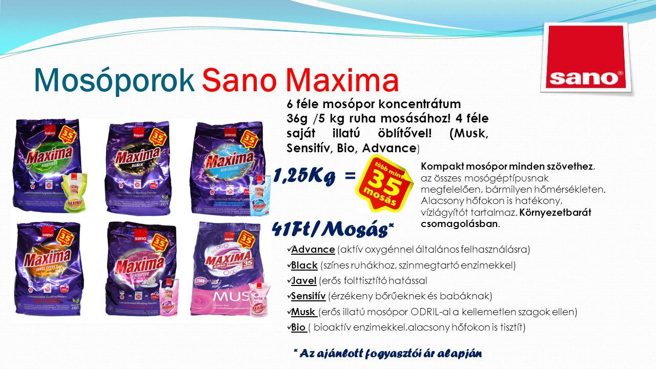 Mosóporok Sano Maxima Kompakt mosópor minden szövethez, az összes mosógéptípusnak megfelelően, bármilyen hőmérsékleten.