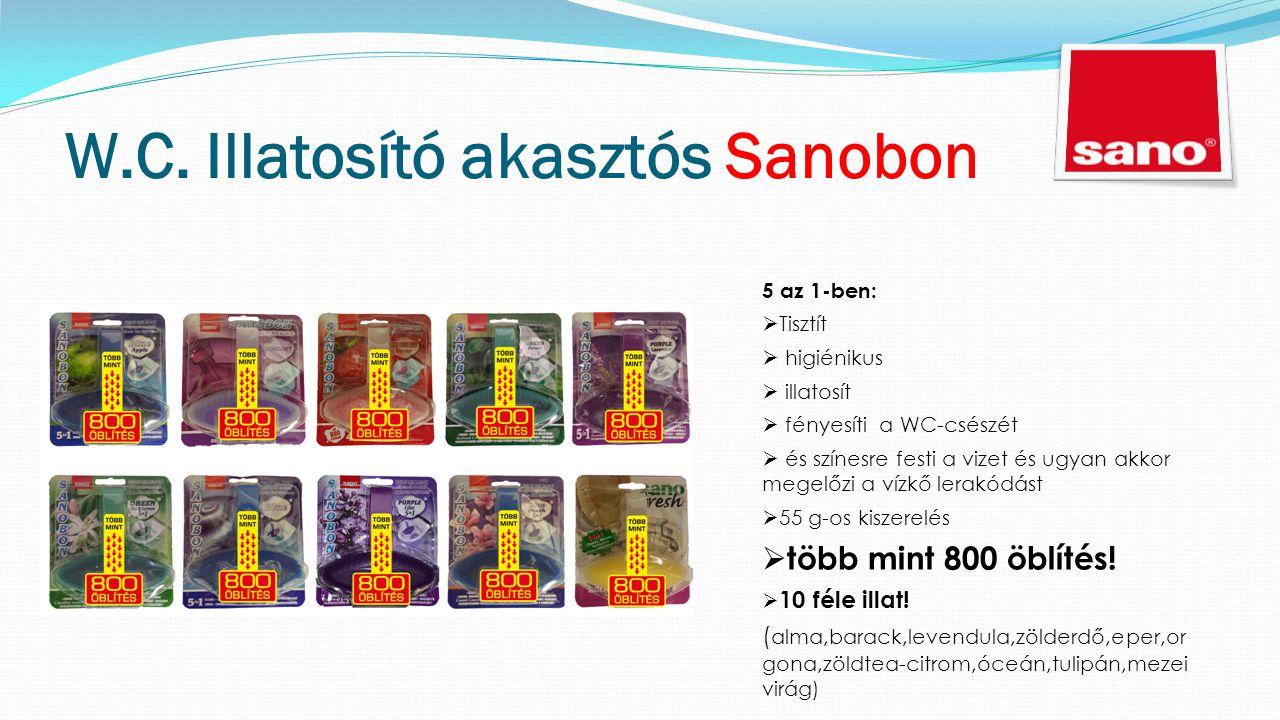 W.C. Illatosító akasztós Sanobon 5 az 1-ben:  Tisztít  higiénikus  illatosít  fényesíti a WC-csészét  és színesre festi a vizet és ugyan akkor me