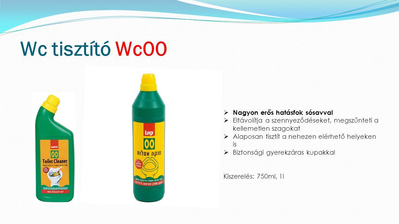 Wc tisztító Wc00  Nagyon erős hatásfok sósavval  Eltávolítja a szennyeződéseket, megszűnteti a kellemetlen szagokat  Alaposan tisztít a nehezen elérhető helyeken is  Biztonsági gyerekzáras kupakkal Kiszerelés: 750ml, 1l