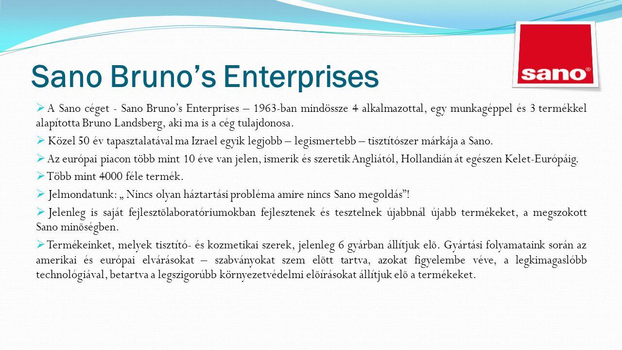 Sano Bruno's Enterprises  A Sano céget - Sano Bruno's Enterprises – 1963-ban mindössze 4 alkalmazottal, egy munkagéppel és 3 termékkel alapította Bruno Landsberg, aki ma is a cég tulajdonosa.
