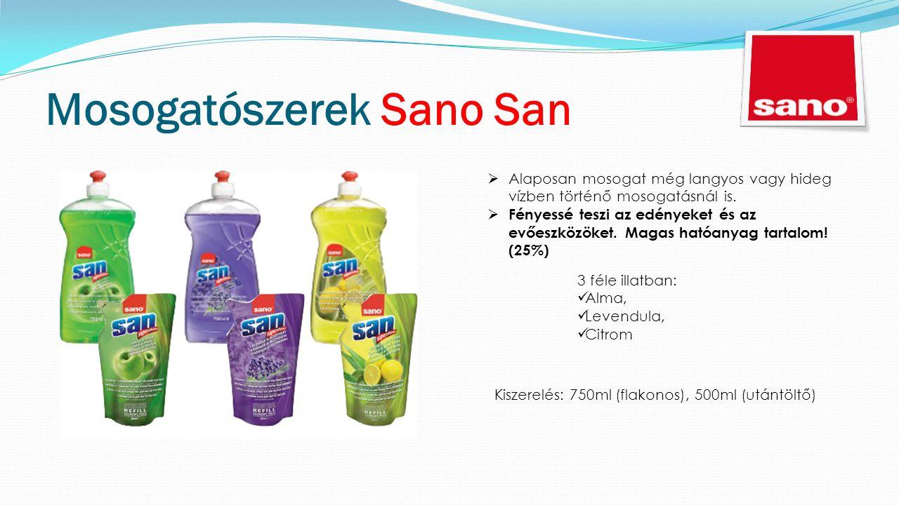 Mosogatószerek Sano San  Alaposan mosogat még langyos vagy hideg vízben történő mosogatásnál is.