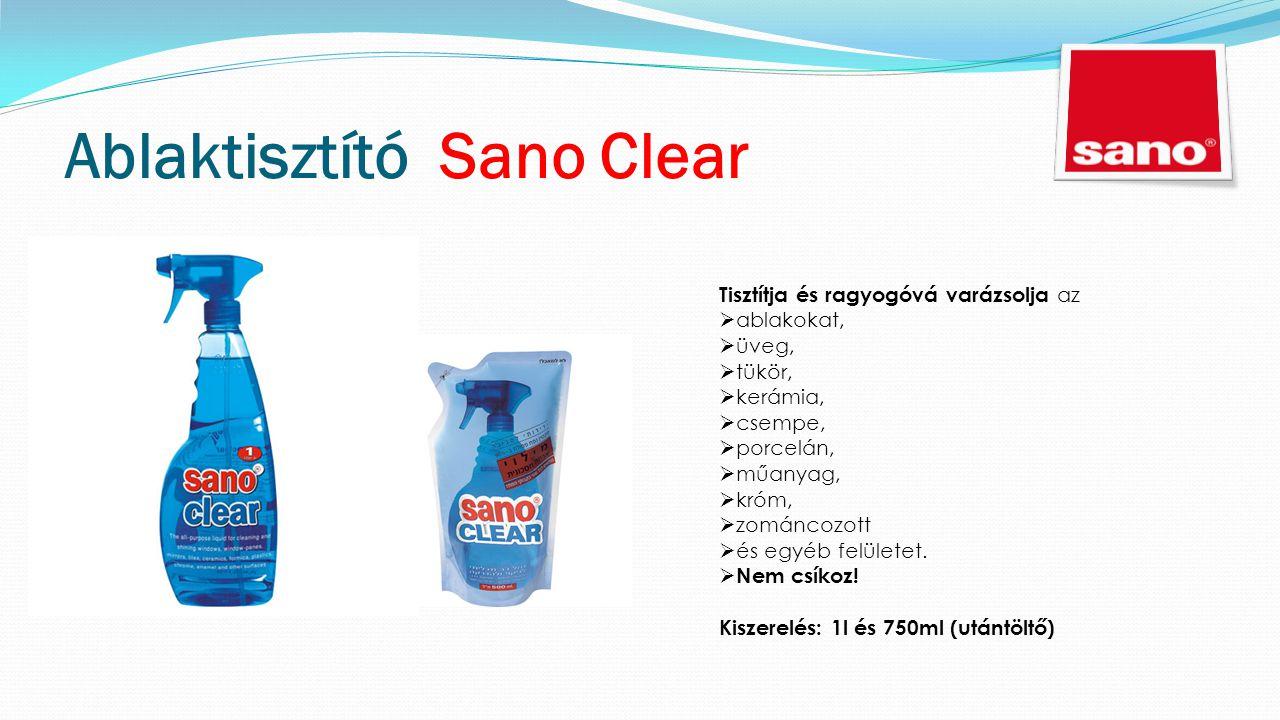 Ablaktisztító Sano Clear Tisztítja és ragyogóvá varázsolja az  ablakokat,  üveg,  tükör,  kerámia,  csempe,  porcelán,  műanyag,  króm,  zománcozott  és egyéb felületet.