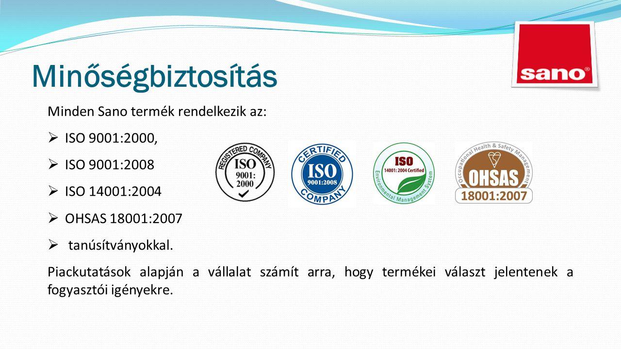 Minőségbiztosítás Minden Sano termék rendelkezik az:  ISO 9001:2000,  ISO 9001:2008  ISO 14001:2004  OHSAS 18001:2007  tanúsítványokkal.