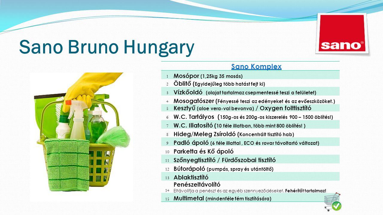 Sano Bruno Hungary Sano Komplex 1 Mosópor (1,25kg 35 mosás) 2 Öblitő ( Egyidejűleg több hatást fejt ki) 3 Vízkőoldó (olajat tartalmaz csepmentessé teszi a felületet) 4 Mosogatószer ( Fényessé teszi az edényeket és az evőeszközöket.) 5 Kesztyű (aloe vera-val bevonva) / Oxygen folttisztító 6 W.C.