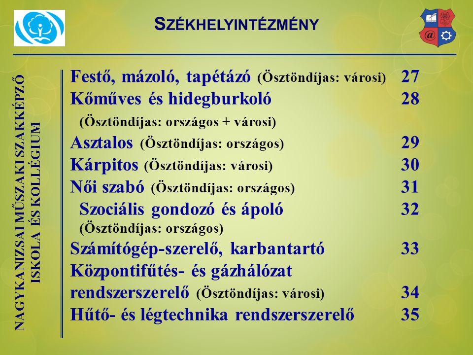 NAGYKANIZSAI MŰSZAKI SZAKKÉPZŐ ISKOLA ÉS KOLLÉGIUM Festő, mázoló, tapétázó (Ösztöndíjas: városi) 27 Kőműves és hidegburkoló28 (Ösztöndíjas: országos + városi) Asztalos (Ösztöndíjas: országos) 29 Kárpitos (Ösztöndíjas: városi) 30 Női szabó (Ösztöndíjas: országos) 31 Szociális gondozó és ápoló 32 (Ösztöndíjas: országos) Számítógép-szerelő, karbantartó 33 Központifűtés- és gázhálózat rendszerszerelő (Ösztöndíjas: városi) 34 Hűtő- és légtechnika rendszerszerelő 35 S ZÉKHELYINTÉZMÉNY