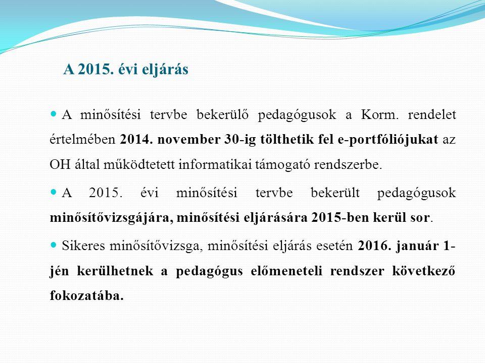A 2015.évi eljárás A minősítési tervbe bekerülő pedagógusok a Korm.