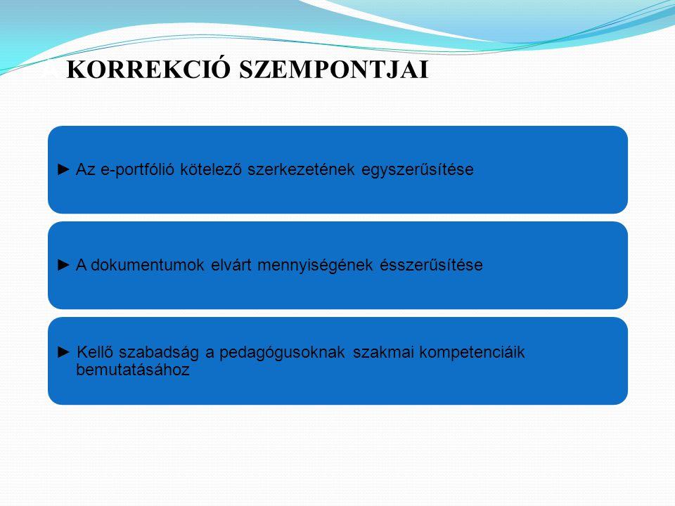 ► Az e-portfólió kötelező szerkezetének egyszerűsítése► A dokumentumok elvárt mennyiségének ésszerűsítése ► Kellő szabadság a pedagógusoknak szakmai kompetenciáik bemutatásához A KORREKCIÓ SZEMPONTJAI