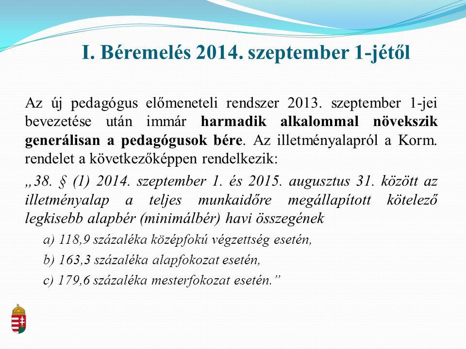 I.Béremelés 2014. szeptember 1-jétől Az új pedagógus előmeneteli rendszer 2013.