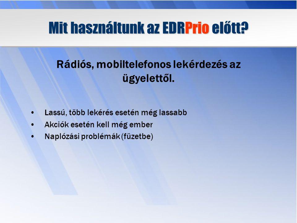 Miért fejlesztettük ki az EDRPrio rendszert.Az ügyeletek tehermentesítése.
