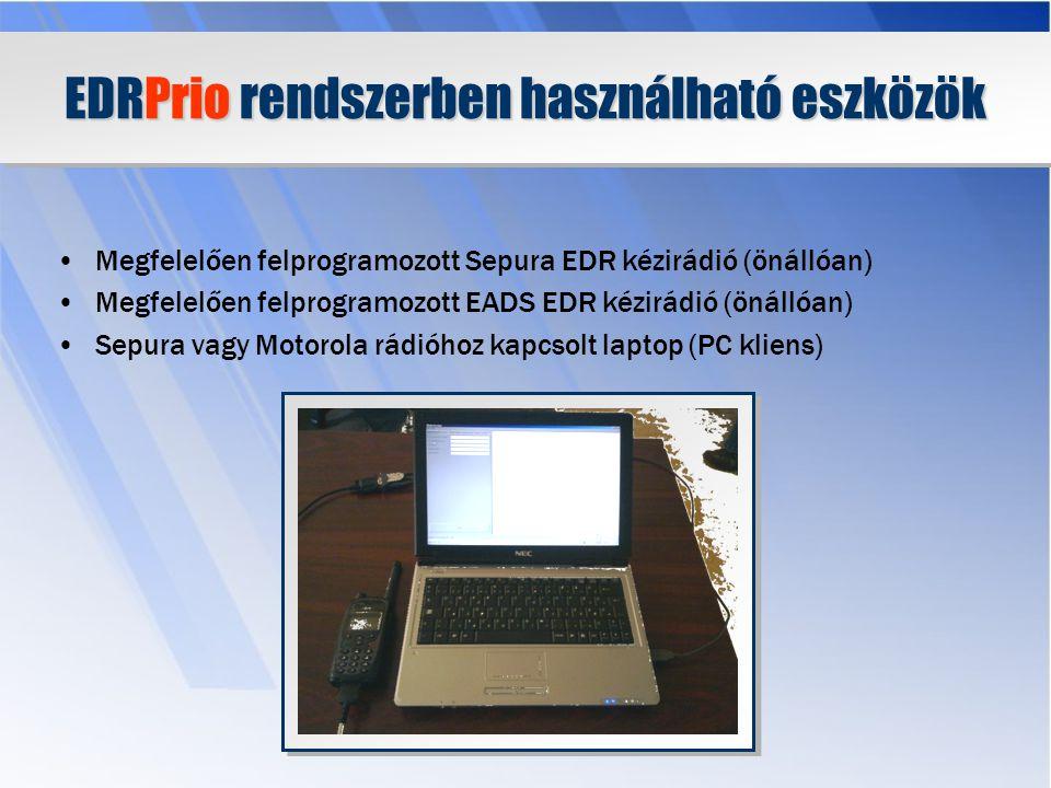 Az EDRPrio rendszer működése A felhasználót az RZS rendszer azonosítja A lekérdezéseket az RZS rendszer naplózza A lekérdezésekből az RZS rendszerben intézkedés készíthető Az EDRPrio a Robotzsaru rádiós interfészének tekinthető Miért?