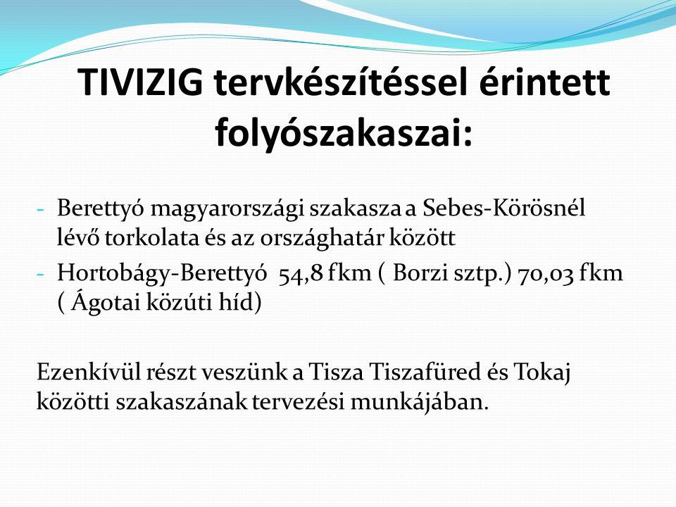 TIVIZIG tervkészítéssel érintett folyószakaszai: - Berettyó magyarországi szakasza a Sebes-Körösnél lévő torkolata és az országhatár között - Hortobág