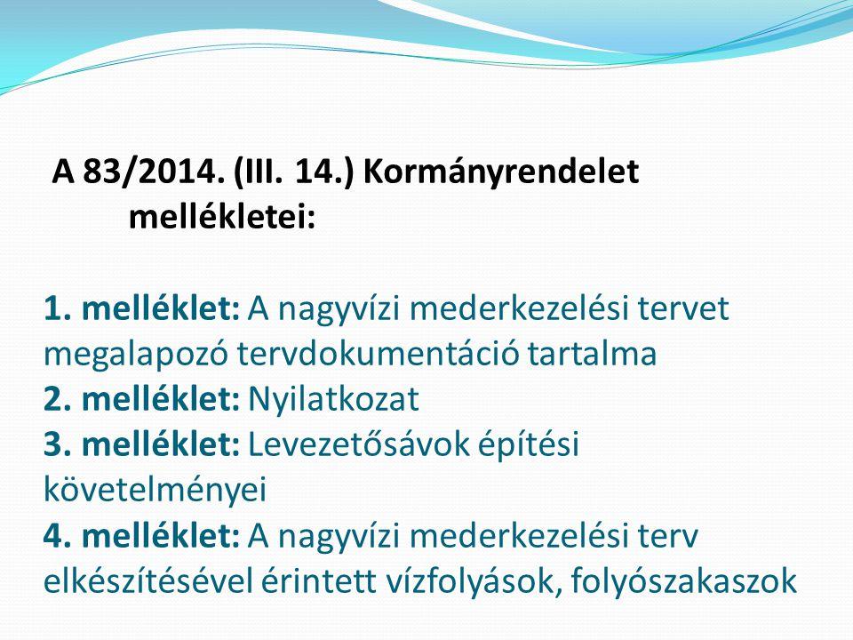 A 83/2014. (III. 14.) Kormányrendelet mellékletei: 1. melléklet: A nagyvízi mederkezelési tervet megalapozó tervdokumentáció tartalma 2. melléklet: Ny