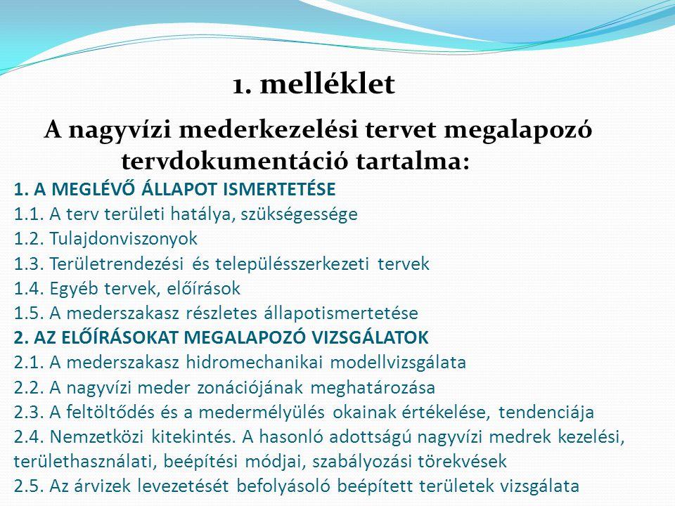 A nagyvízi mederkezelési tervet megalapozó tervdokumentáció tartalma: 1. A MEGLÉVŐ ÁLLAPOT ISMERTETÉSE 1.1. A terv területi hatálya, szükségessége 1.2