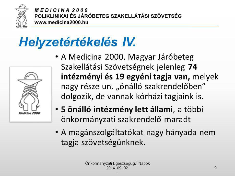 """A Medicina 2000, Magyar Járóbeteg Szakellátási Szövetségnek jelenleg 74 intézményi és 19 egyéni tagja van, melyek nagy része un. """"önálló szakrendelőbe"""