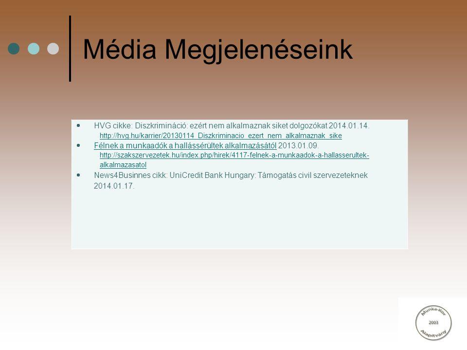 Média Megjelenéseink  HVG cikke: Diszkrimináció: ezért nem alkalmaznak siket dolgozókat 2014.01.14. http://hvg.hu/karrier/20130114_Diszkriminacio_eze