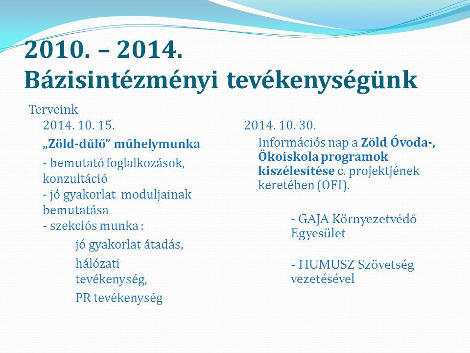 2010.– 2014. Bázisintézményi tevékenységünk Terveink 2014.
