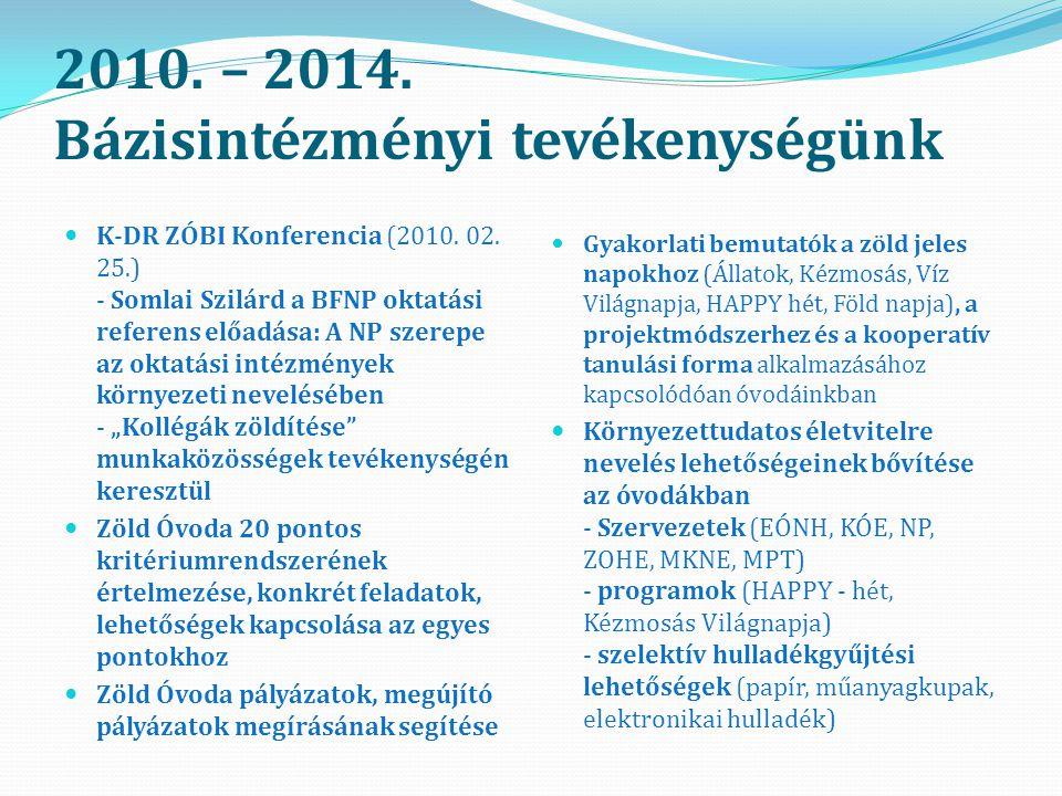 2010.– 2014. Bázisintézményi tevékenységünk K-DR ZÓBI Konferencia (2010.