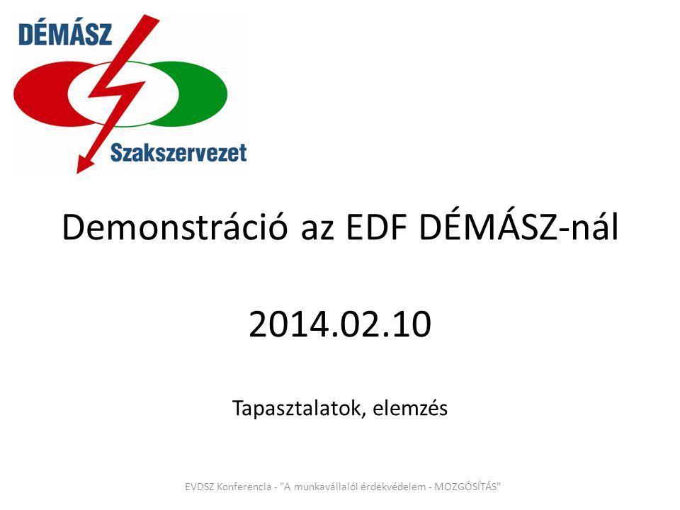 Demonstráció az EDF DÉMÁSZ-nál 2014.02.10 Tapasztalatok, elemzés EVDSZ Konferencia - A munkavállalói érdekvédelem - MOZGÓSÍTÁS