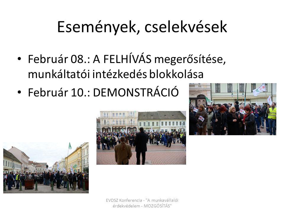 Február 08.: A FELHÍVÁS megerősítése, munkáltatói intézkedés blokkolása Február 10.: DEMONSTRÁCIÓ EVDSZ Konferencia - A munkavállalói érdekvédelem - MOZGÓSÍTÁS Események, cselekvések