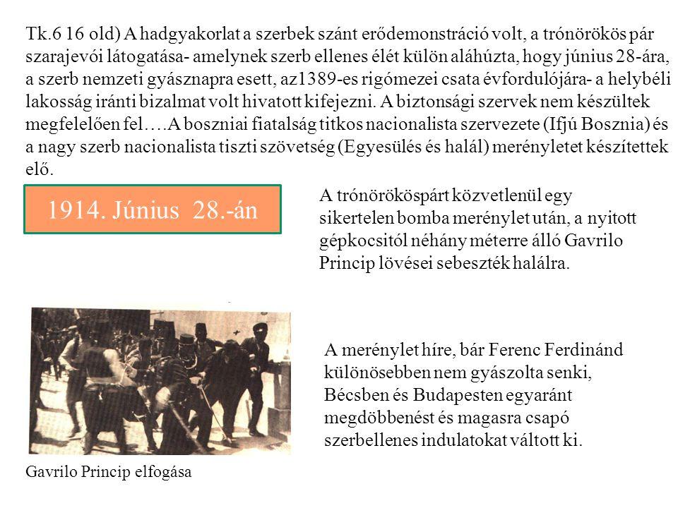 Gavrilo Princip elfogása Tk.6 16 old) A hadgyakorlat a szerbek szánt erődemonstráció volt, a trónörökös pár szarajevói látogatása- amelynek szerb elle