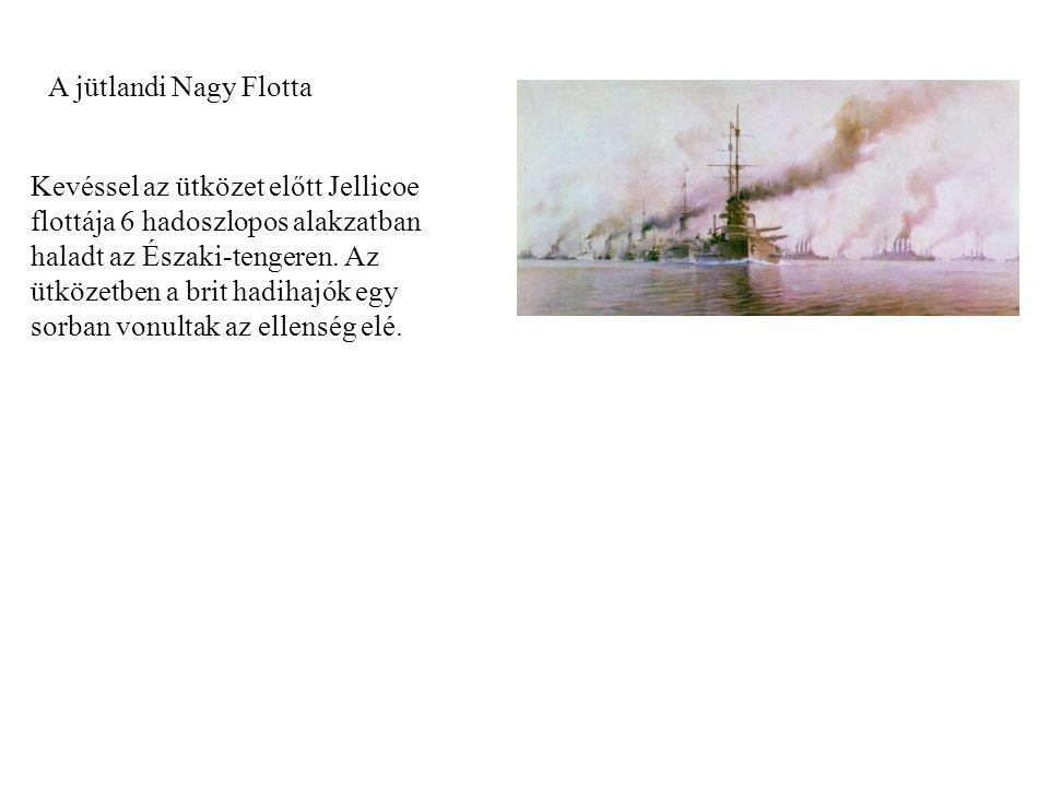 A jütlandi Nagy Flotta Kevéssel az ütközet előtt Jellicoe flottája 6 hadoszlopos alakzatban haladt az Északi-tengeren. Az ütközetben a brit hadihajók