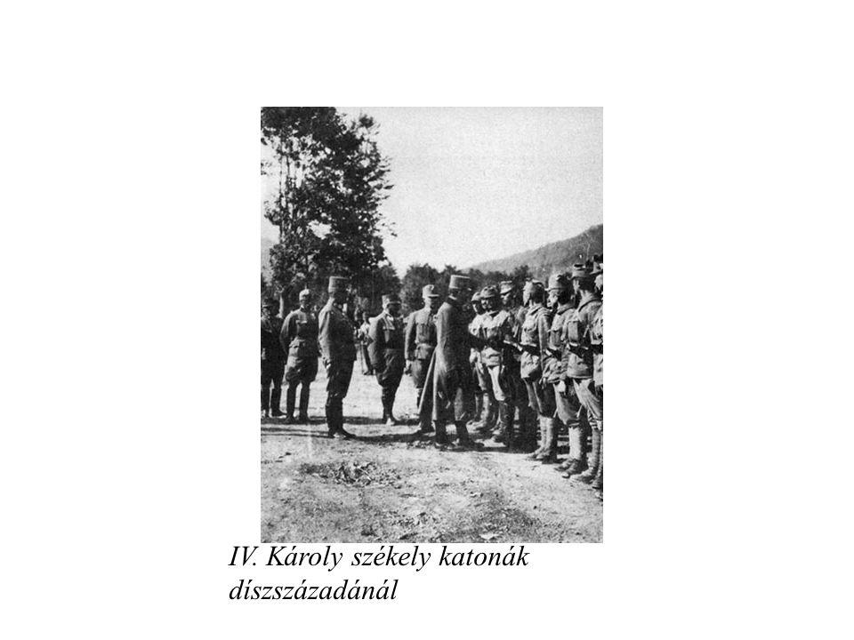 IV. Károly székely katonák díszszázadánál