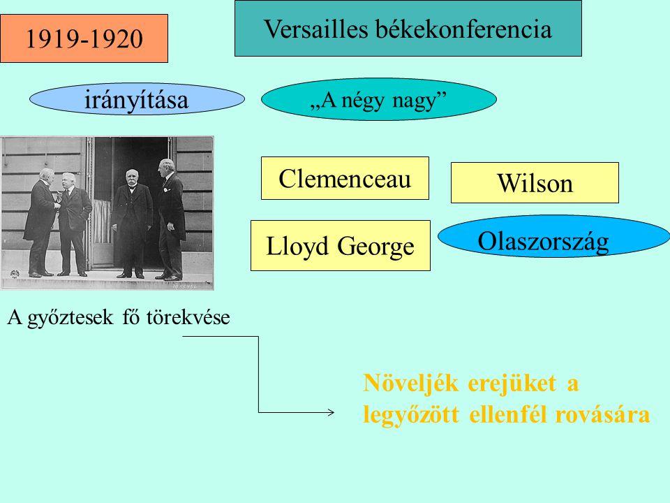 """Versailles békekonferencia Lloyd George Clemenceau Wilson 1919-1920 irányítása """"A négy nagy"""" Olaszország A győztesek fő törekvése Növeljék erejüket a"""