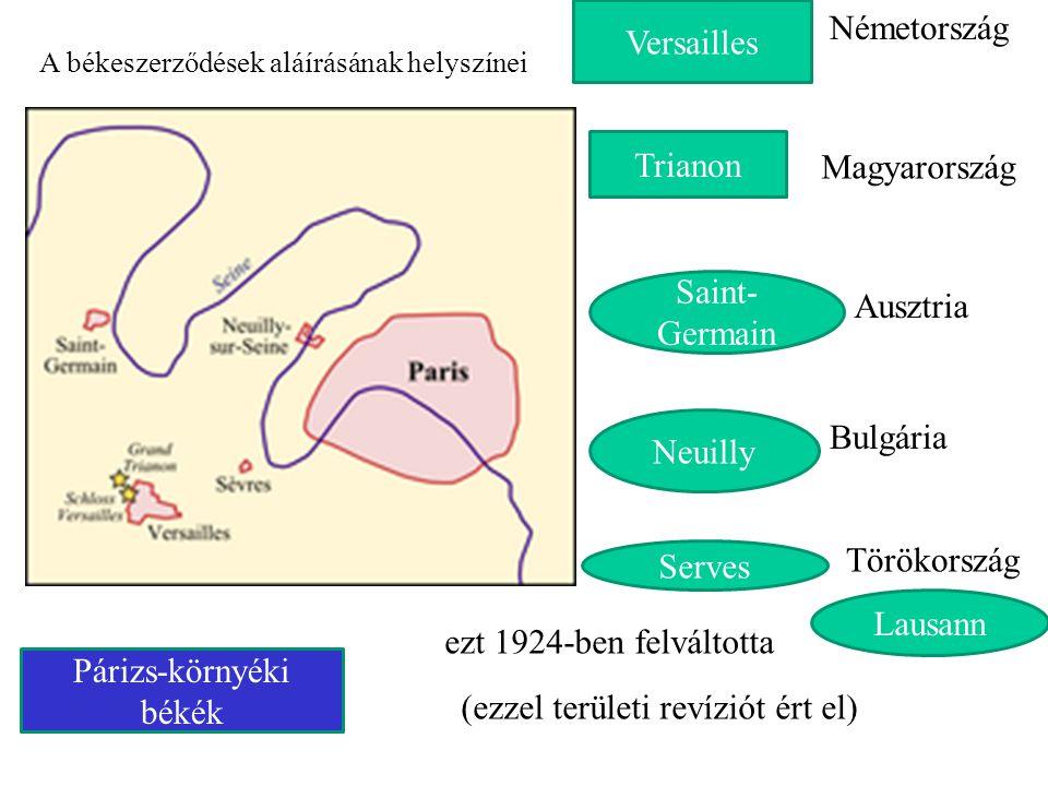 A békeszerződések aláírásának helyszínei Versailles Németország Saint- Germain Ausztria Neuilly Bulgária Serves Törökország Trianon Magyarország Lausa