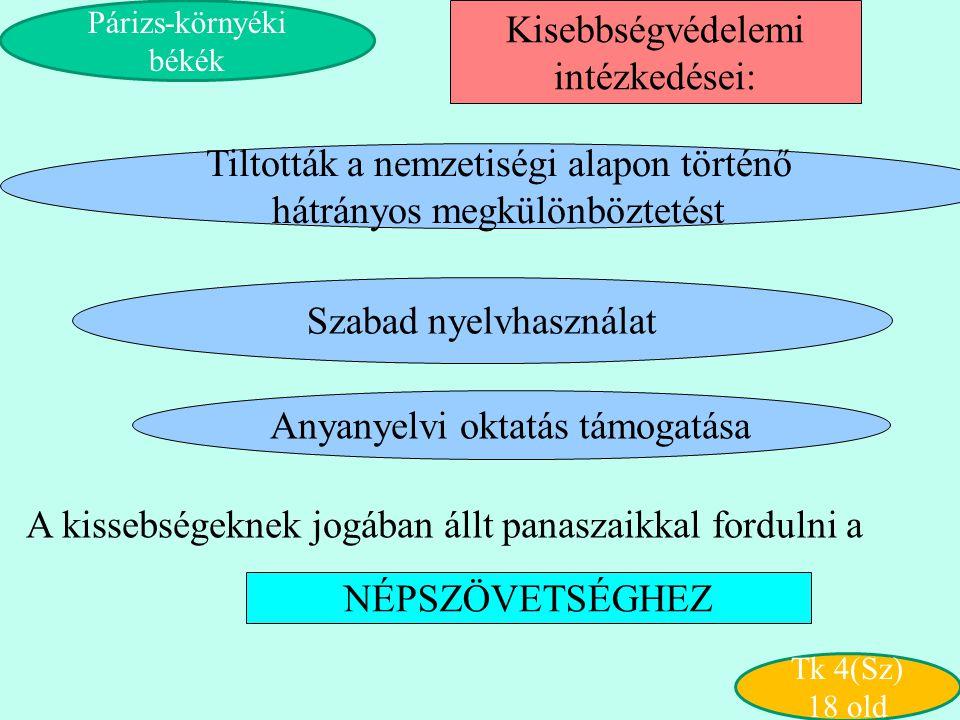 Szabad nyelvhasználat Tiltották a nemzetiségi alapon történő hátrányos megkülönböztetést Kisebbségvédelemi intézkedései: A kissebségeknek jogában állt
