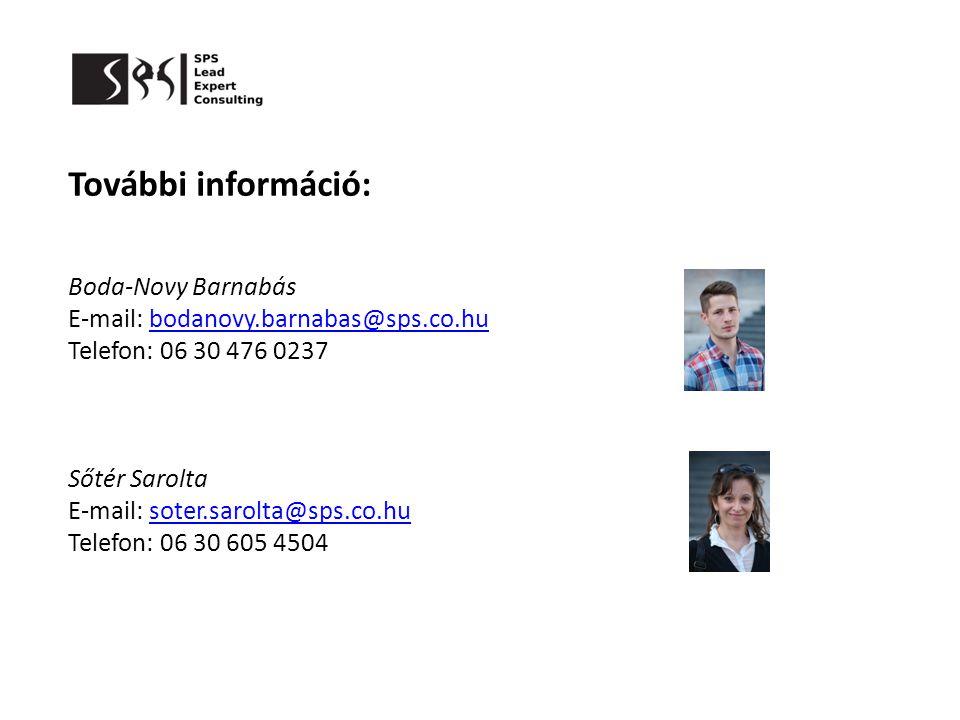 További információ: Boda-Novy Barnabás E-mail: bodanovy.barnabas@sps.co.hubodanovy.barnabas@sps.co.hu Telefon: 06 30 476 0237 Sőtér Sarolta E-mail: so