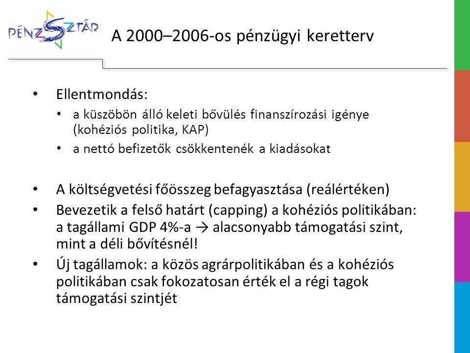 A 2007–2013-as keretköltségvetés Markáns érdekcsoportok a tárgyalások során: Nettó befizetők: UK, FR, DE, SE, NL, AT; céljuk a kiadási szintet a GNI 1%-ára csökkenteni A kohézió barátai: HU, SK, PL, CZ, MT, CY, EE, LT, LV, SI, ES, PT, EL; céljuk az erős (jól finanszírozott) kohéziós politika megőrzése Visegrádi országok (V4) A tárgyalások eredménye: A kiadások szinten tartása Differenciált GDP-arányos felső határ a kohéziós politikában (LV: 3,9%, HU: 3,52%)