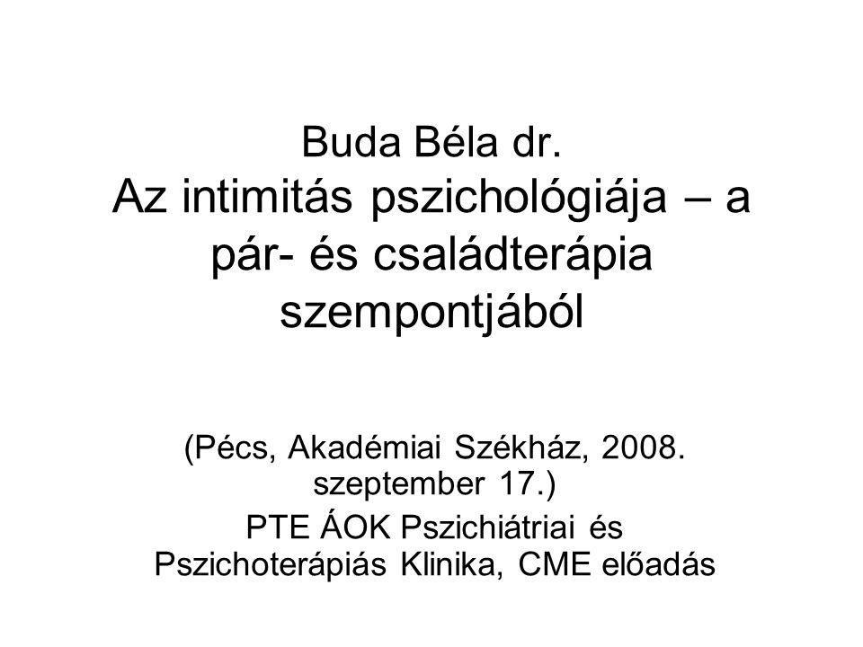 Buda Béla dr. Az intimitás pszichológiája – a pár- és családterápia szempontjából (Pécs, Akadémiai Székház, 2008. szeptember 17.) PTE ÁOK Pszichiátria