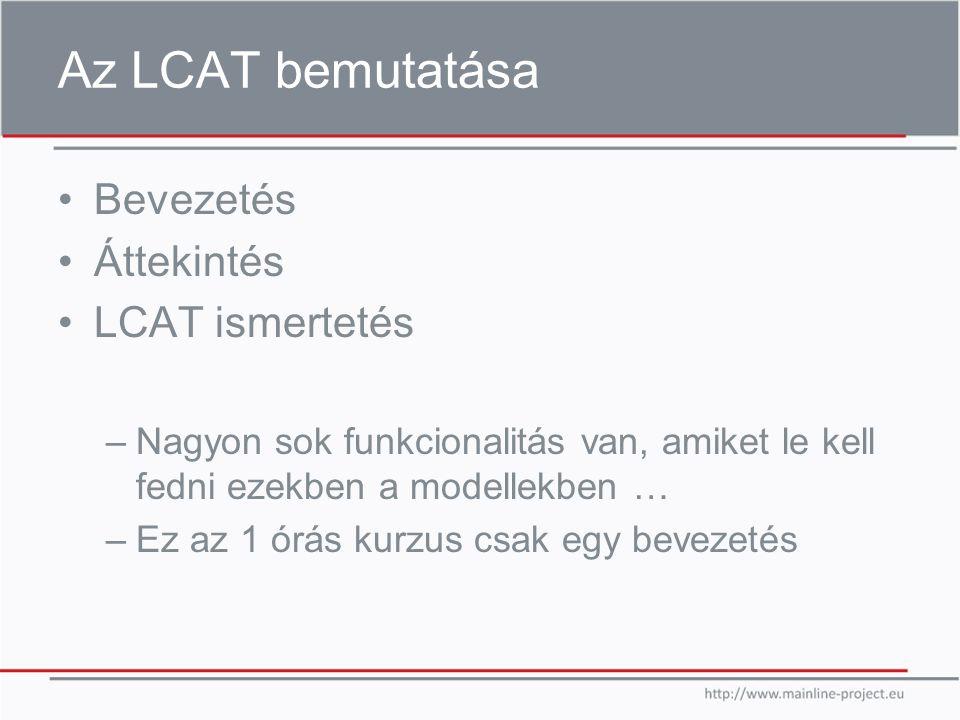 Az LCAT bemutatása Bevezetés Áttekintés LCAT ismertetés –Nagyon sok funkcionalitás van, amiket le kell fedni ezekben a modellekben … –Ez az 1 órás kurzus csak egy bevezetés