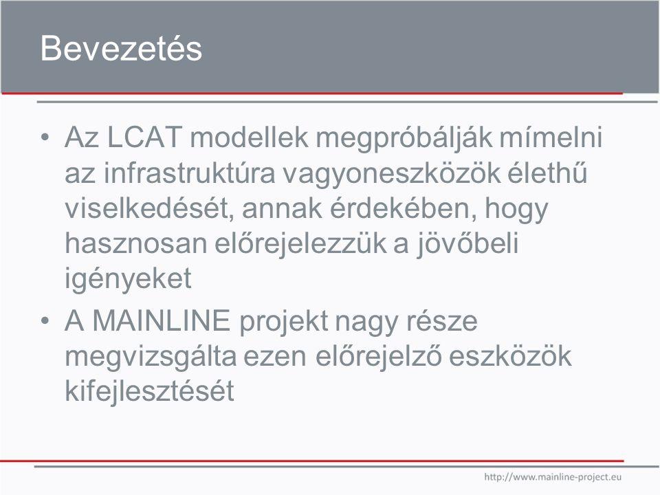 Bevezetés Az LCAT modellek megpróbálják mímelni az infrastruktúra vagyoneszközök élethű viselkedését, annak érdekében, hogy hasznosan előrejelezzük a jövőbeli igényeket A MAINLINE projekt nagy része megvizsgálta ezen előrejelző eszközök kifejlesztését