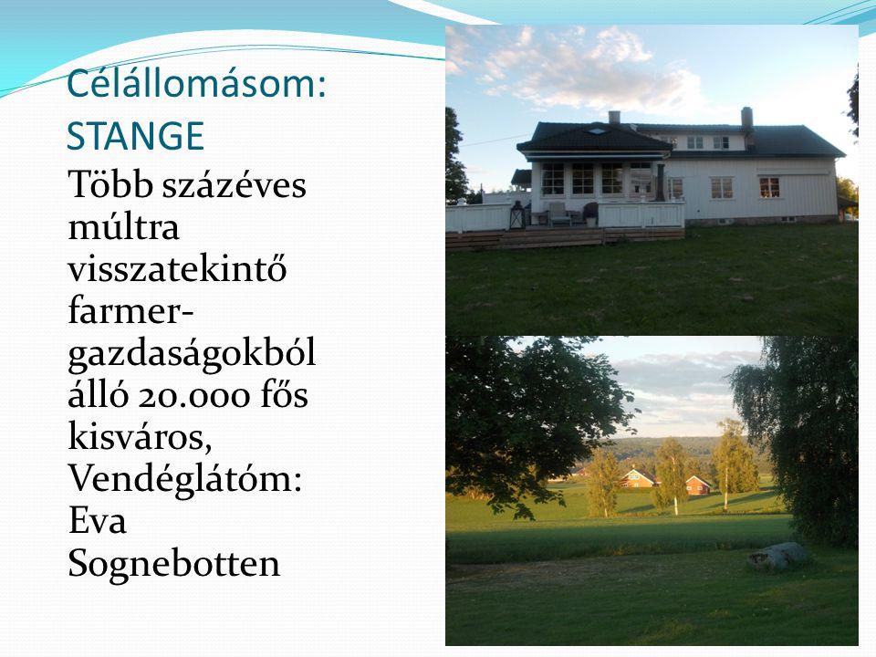 Célállomásom: STANGE Több százéves múltra visszatekintő farmer- gazdaságokból álló 20.000 fős kisváros, Vendéglátóm: Eva Sognebotten