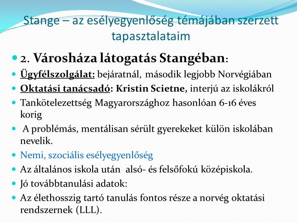 Stange – az esélyegyenlőség témájában szerzett tapasztalataim 2. Városháza látogatás Stangéban : Ügyfélszolgálat: bejáratnál, második legjobb Norvégiá