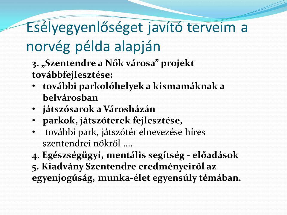"""Esélyegyenlőséget javító terveim a norvég példa alapján 3. """"Szentendre a Nők városa"""" projekt továbbfejlesztése: további parkolóhelyek a kismamáknak a"""