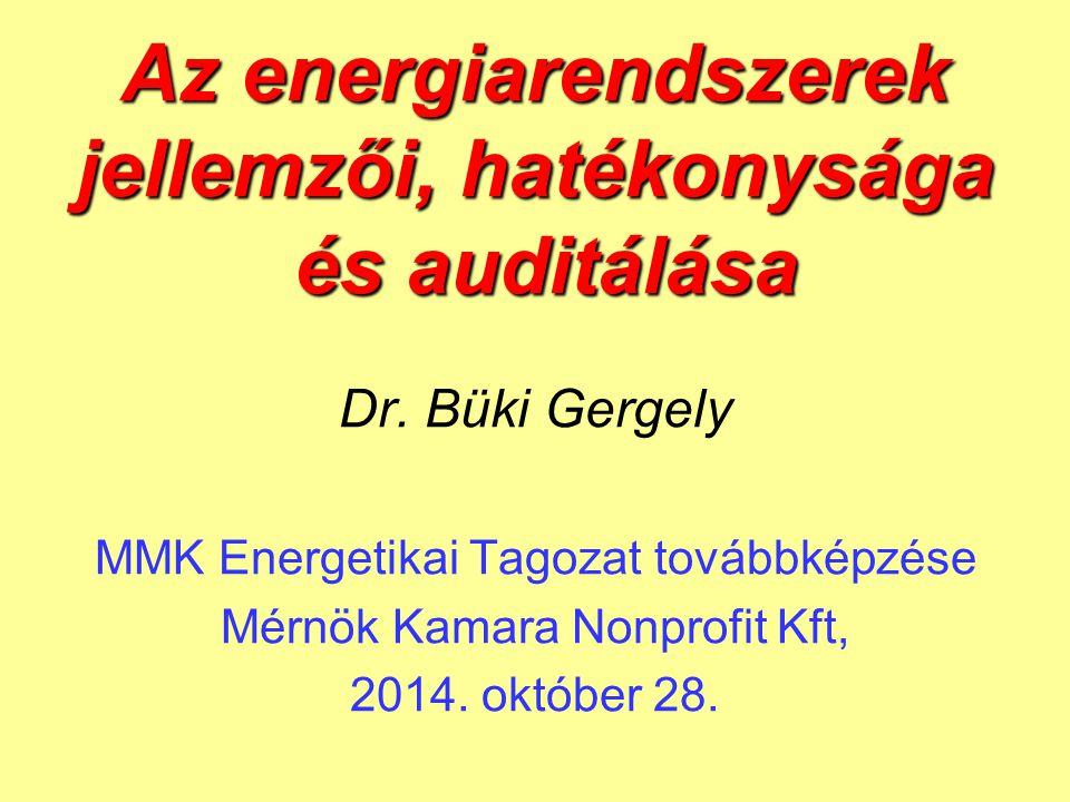 Az energiarendszerek jellemzői, hatékonysága és auditálása Dr. Büki Gergely MMK Energetikai Tagozat továbbképzése Mérnök Kamara Nonprofit Kft, 2014. o