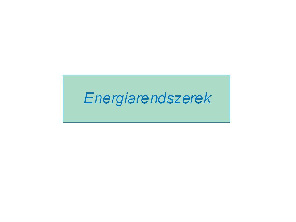 Energiák, az energiaátalakítás jellemzői Intenzív jellemző Extenzív jellemző Energiák: Hő -- meleghő, fűtés -- hideghő, hűtés Mechanikai munka Villamos energia Kötött energia (primer)  Q = T  S = T  ms hőközlés + hőelvonás --  W = p  V  E = Q   G =  m c 2 TpTp SVQSVQ Energiaátalakítás jellemzői: Hőtermelés fajlagos primerenergia-felhasználása g = G / Q =1/  Hőtermelés fajlagos villamosenergia-felhasználása y= E / Q Villamosenergia-termelés fajlagos primerenergia-felhasználása g E = G/E = 1/  E