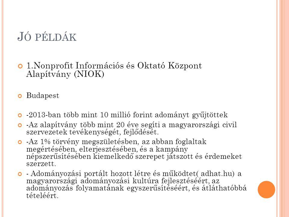 J Ó PÉLDÁK 1.Nonprofit Információs és Oktató Központ Alapítvány (NIOK) Budapest -2013-ban több mint 10 millió forint adományt gyűjtöttek -Az alapítván